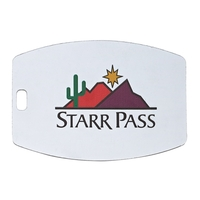 Rounded Rectangle White Plastic Bag Tag