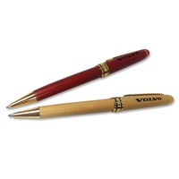 Elegant Wooden Pen with Gold Band
