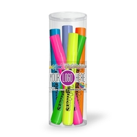 Fluorescent Highlighters 6 Pk Tube Set with Full Color Decal