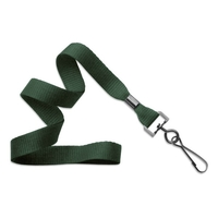"5/8"" Forest Green Flat Blank Lanyards with Black Swivel Hook"