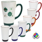 16oz White Mug with Colored Handle and Trim, four color