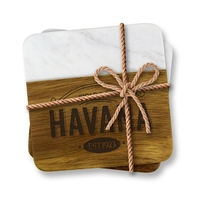 Acacia Wood and Greek Marble Coaster Set