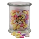 Large Round Glass Jar with Lid-Conversation Hearts Candy