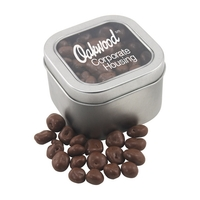 Large Tin with Window Lid and Chocolate Covered Raisins