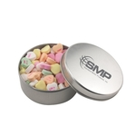 Large Round Metal Tin with Lid and Conversation Hearts
