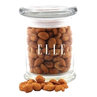 Honey Roasted Peanuts in a Round Glass Jar with Lid
