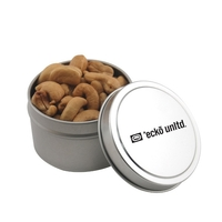 Round Metal Tin with Lid and Cashews
