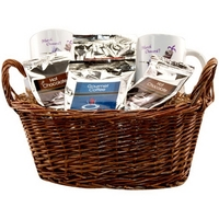 Gift basket with coffee, tea and mugs