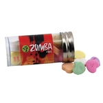 """3 """" Plastic Tube with Metal Cap-Conversation Hearts Candy"""