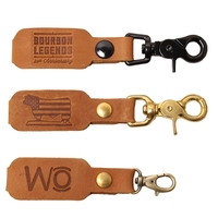 Logo Leather Key Chain with Clip Options