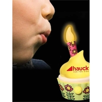Happy Birthday Sound Cupcake w/Flashing LED Blow-Out Candle
