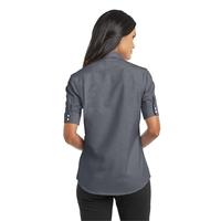 Port Authority Ladies Short Sleeve SuperPro Oxford Shirt.