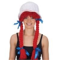 White Velvet Bonnet w/Red Braids & Blue Satin Bows