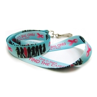 Breast Cancer Awareness Digitally Sublimated Lanyard w/3