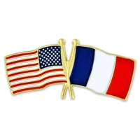 World Flag - USA & France Flag Pin