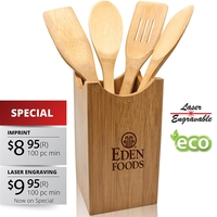 5 Piece Bamboo Kitchen Utensil Set