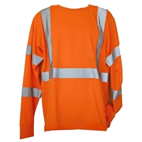 Orange 4XL/5XL Long Sleeve Hi-Viz Safety T-Shirt