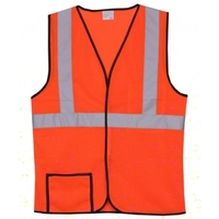 Single Stripe L/XL Orange Mesh Safety Vest