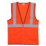 S/M Orange Mesh Zipper Safety Vest