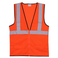 L/XL Orange Mesh Zipper Safety Vest