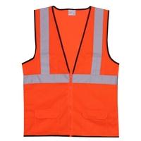 2XL/3XL Orange Mesh Zipper Safety Vest