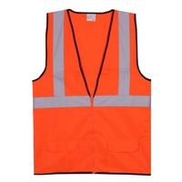 L/XL Orange Solid Zipper Safety Vest
