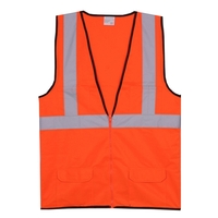 2XL/3XL Orange Solid Zipper Safety Vest