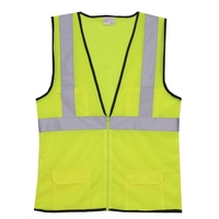 2XL/3XL Yellow Mesh Zipper Safety Vest