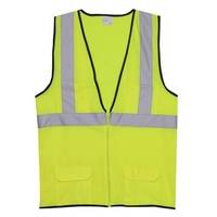 2XL/3XL Yellow Solid Zipper Safety Vest