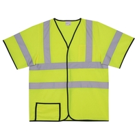 L/XL Yellow Solid Short Sleeve Safety Vest