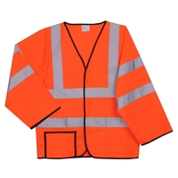 2XL/3XL Orange Solid Long Sleeve Safety Vest