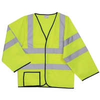 2XL/3XL Yellow Solid Long Sleeve Safety Vest