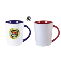 12oz Two-Tone Sorrento Mug With Colored Handle, four color