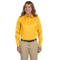 Harriton Ladies' Easy Blend™ Long-Sleeve Twill Shirt w...