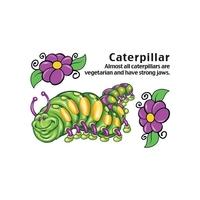 Cartoon Caterpillar Temporary Tattoo