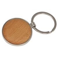 "1.625"" x 1.625"" - Beechwood Keychains - Round - Engraved"