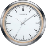 Citizen Wall Clock w/Light Beige Wood and Silver-Tone Frame