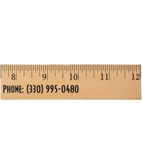 "12"" Clear Lacquer Wood Ruler - English Scale"