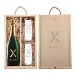 Engraved Wood Box w/ Etched Champagne & Flutes