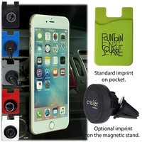 Magnetic Auto Phone Holder with Phone Pocket
