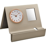 Citizen Beige Leather Clock Rose Gold-Tone Frame and Mirror