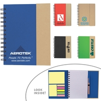 Eco-Recycled Magnetic Journal with Sticky Notes and Flags