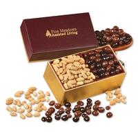 Virginia Peanuts & Chocolate Peanuts in Burgundy & Gold Box