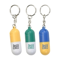 Capsule Shaped Pill Box With Key Ring