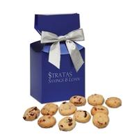 Cranberry Shortbread Cookies in Metallic Blue Gift Box