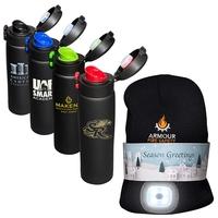 LED Beanie and 16 oz. Legacy Black Vacuum Bottle Gift Set