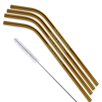 Gold & Rose Gold Bent Stainless Steel Straw qty 4