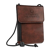 RFID Leather Wallet with Neck Cord