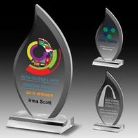 "Multi-Faceted Acrylic Flame Award - 4"" x 7 3/4"" x 3/4"""