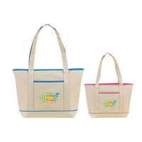 NATURAL WITH COLOR TRIM TOTE